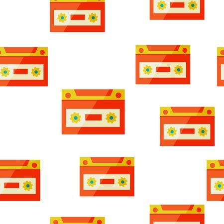 oldie: retro audio cassettes, pop art style seamless background