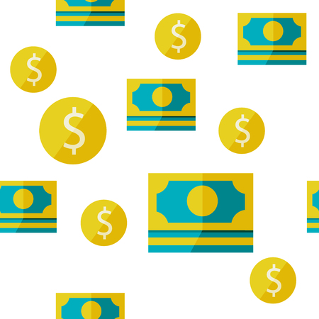 Seamless background with dollar signs. Can be used for wallpaper, pattern fills, web page background, surface textures. Vector