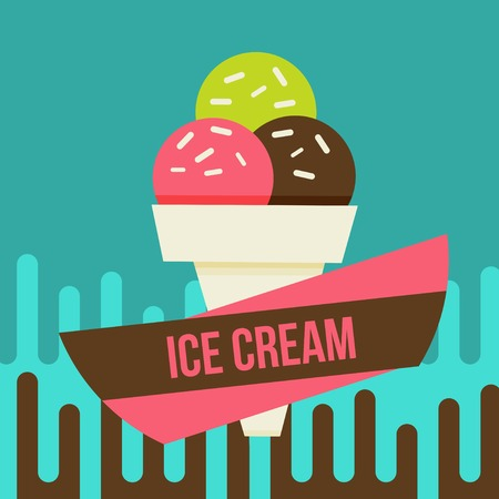 Retro ice cream poster. Vector illustration of vintage ice cream sign. Vector
