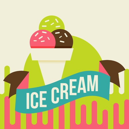 Retro ice cream poster.  illustration of vintage ice cream sign. illustration