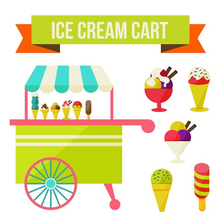 Illustration of ice cream cart isolated in white background. Vector