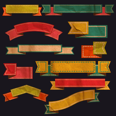 ベクターのレトロなリボン、古い汚れた紙テクスチャのセット  イラスト・ベクター素材