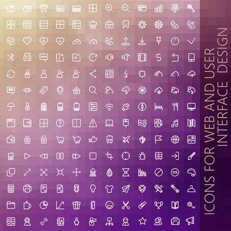 interface design: vector set of icons for web and user interface design Illustration