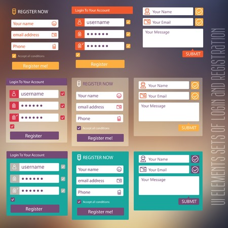 with sets of elements: user interface elements sets of login and registration form flat Illustration