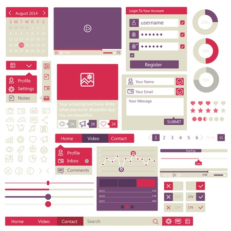 users video: user interface flat design elements