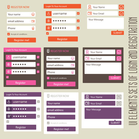 user interface elements sets of login and registration form flat Vector