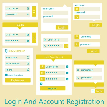 user interface login and account registration Vector