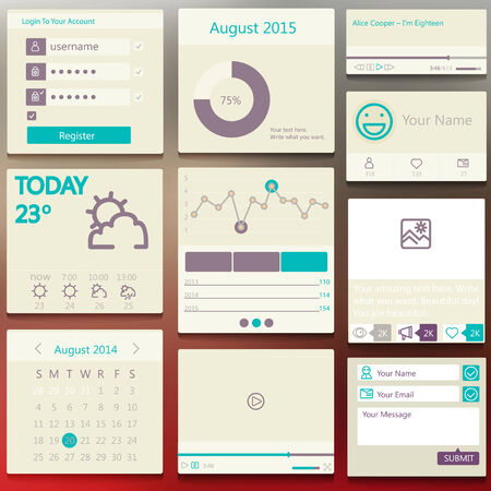 Set elements used for user interface  light Vector