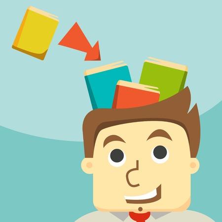 businessman trained, improve qualification Illustration