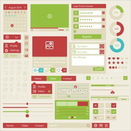 user interface flat design elements Vector
