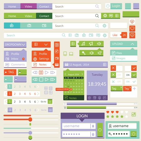 Flat elements design, ui set. Vector