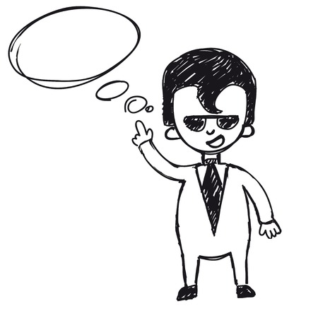 genial: businessman says, taxing empty for text Illustration