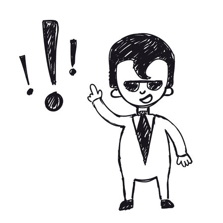 stumble: funny cartoon businessman with exclamation mark