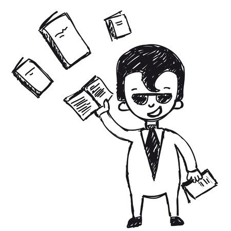 trained: businessman trained, improve qualification Illustration