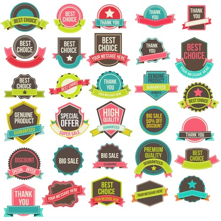 web buttons set: Collection labels and ribbons
