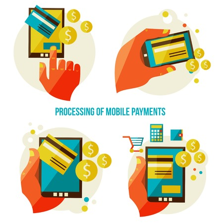processing of mobile payments Ilustrace
