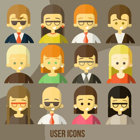 web template: Colorful people Faces Circle Icons Set