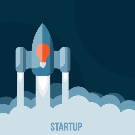 Space rocket flying in sky, startup Vector