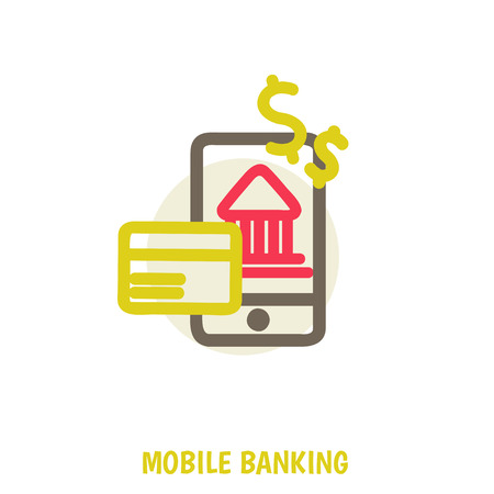 vector colored illustration concept for mobile banking and online payment isolated on bright background Vector