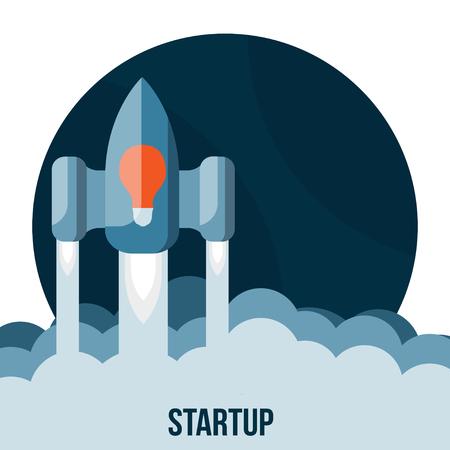 Space rocket flying in sky, startup Vector