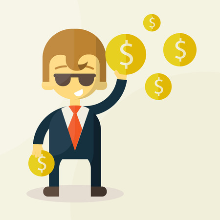 Money and man vector illustration Vector