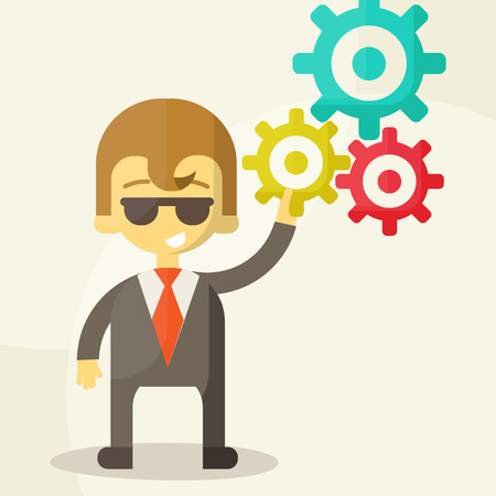 brain storming: Businessman with the gears. Brain storming, successful business idea concept. Vector illustration
