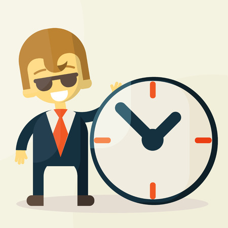 Businessman  with time, business concept in busy and hard working. Vector