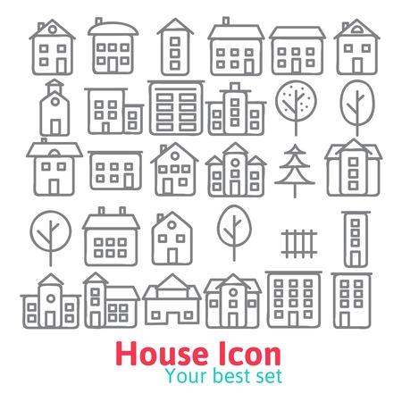 line drawing: Building icons set.  Line vector illustration eps 10 Illustration