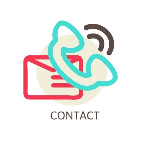 email us: contattarci vettore icona - e-mail e telefono, illustrazione vettoriale linea Vettoriali