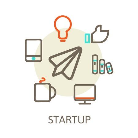 start up  Trendy Illustrations for new businesses Vector