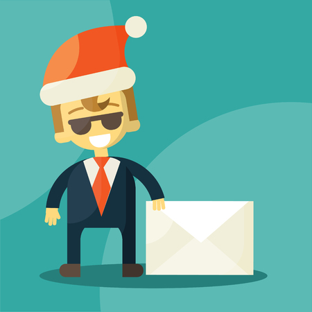 good news: Happy businessman in Santa Claus hat. Letter with good news. Christmas Letters