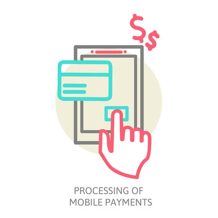 line design  illustration in  modern stylish processing of mobile payments Vector