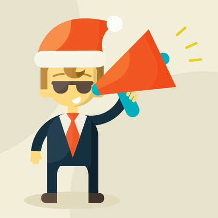 Young businessman with a megaphone and Christmas hat Vector
