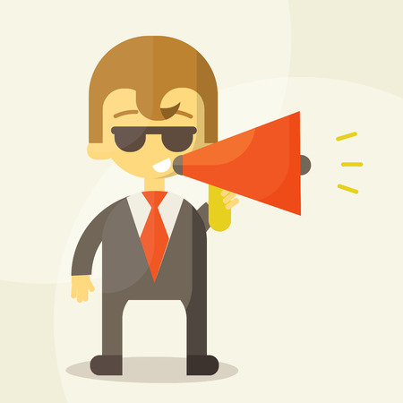 Young businessman with a megaphone Vector
