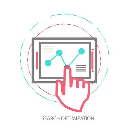 line design illustration concept of website analytics 向量圖像