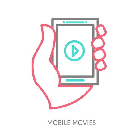 tablet on the hand with video player Vector