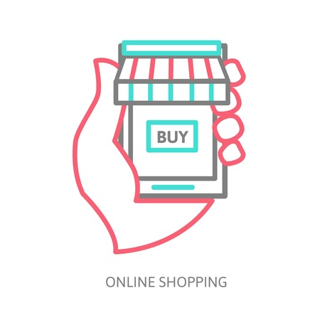 mobile shopping button, line design Vector