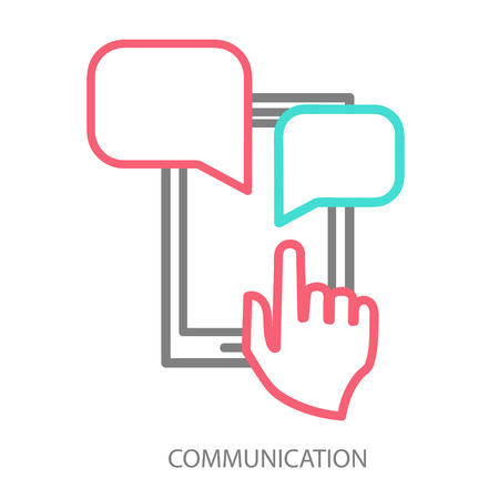 Hand and smartphone. Chat application template Vector