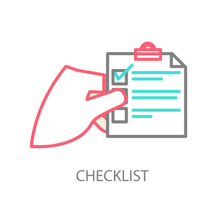 Line illustration of a checklist Vector