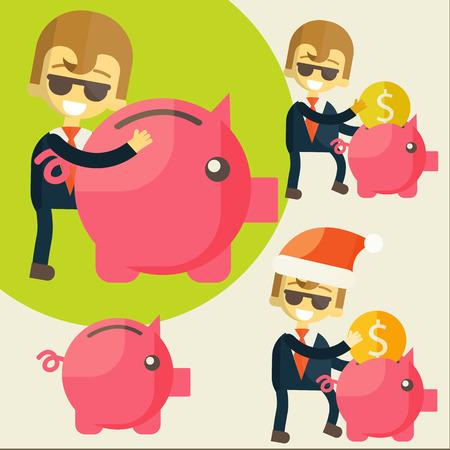 Businessman saves money in Piggy bank. Vector