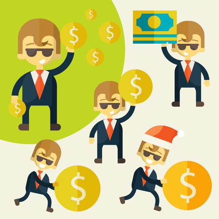 Set of cheerful businessman with his money. Vector