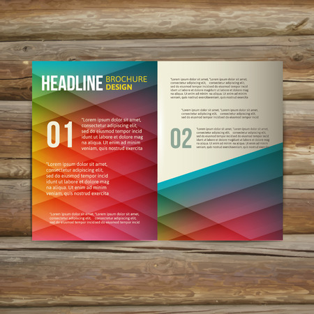 Vector empty brochure template design with with colorful painting
