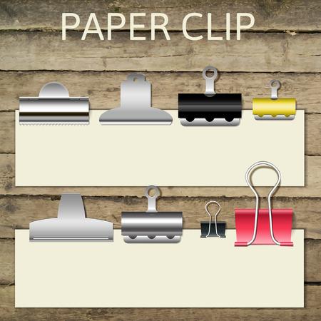 fasteners: Set of different paper clips for your design, vector illustration eps 10 Illustration