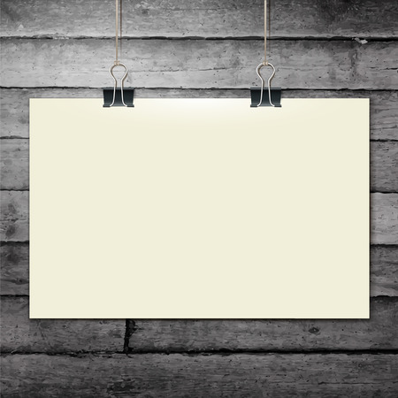 white blank: Vector template of a paper sheet, poster, picture frame, on wooden background, vector illustration  Illustration