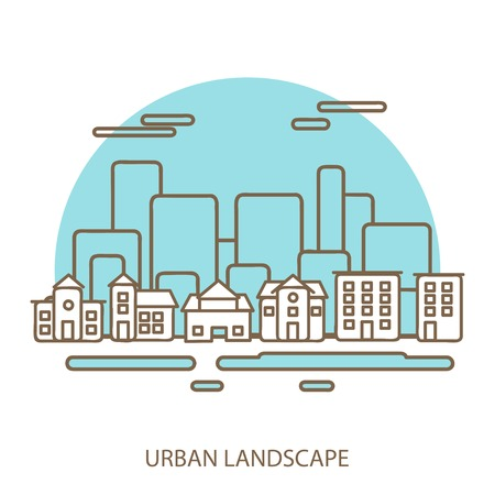 linear background with urban landscape, a stylish modern design for your business, vector illustration eps 10