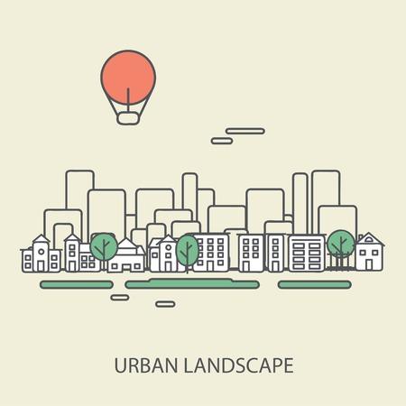 linear background with urban landscape, a stylish modern design on wooden background, vector illustration eps 10 Çizim