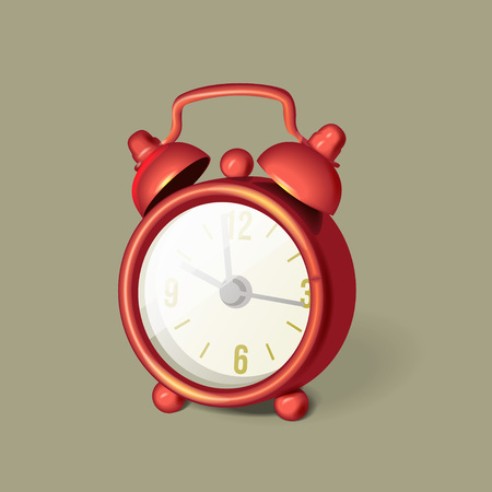Classic red alarm clock with bells on top, vector illustration Illustration