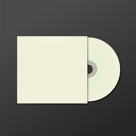 cd label: Cool Realistic Case for DVD Or CD Disk with DVD Or CD Disk. Text, reflection and background on separate layers. Vector Illustration