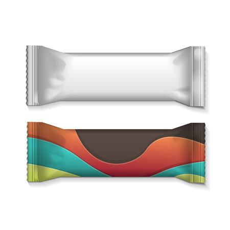 barra de bar: Visual de la llanura blanca o clara fluya paquete de aluminio pl�stico envoltura, empaque o envoltura para galletas, obleas, galletas, dulces, barra de chocolate, barra de chocolate, bocadillos etc Vector Vectores