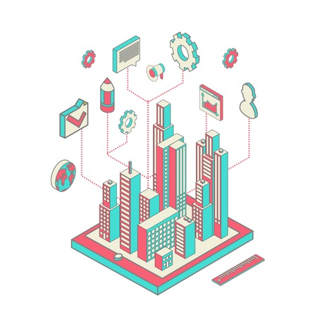 Isometric vector illustration of smartphone application with the city Vector